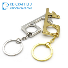 Fast Delivery Germ Free Door Opener Key Chain Protective Hygiene Hand Antimicrobial Brass EDC No Touch Door Opener Keychain