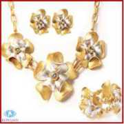 latest christmas decorations gold fashion flower crystal jewelry sets