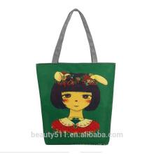 Women Shopping Bag Cotton Canvas Stripes Tote Pouch Handbag CB0302