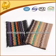 Lenço de seda tailandês multi-color Chevron Infinity, tecido para cachecol