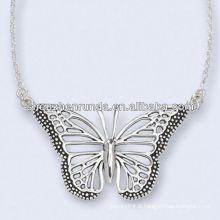 Collier mariposa Antiqué en acier inoxydable Chaîne de 18 pouces