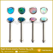 Wholesale Fashion Synthetic Fire Opal Stainless Steel Nose Stud Body Jewelry
