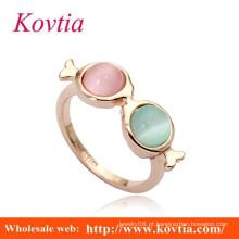 Anéis de ouro italiano de 18k de VENDA QUENTE com dois diamantes cor-de-rosa de pedra opal e anéis de ouro branco