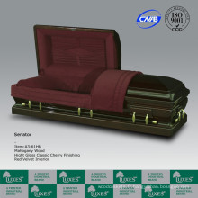 LUXES populaire américaine solide en bois coffret cercueil acajou