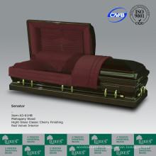 Популярный американский стиль люкс твердых деревянных ларец гроб из красного дерева