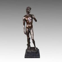 Классическая бронзовая скульптура Дэвид Украшение Статуя латуни Tpy-043