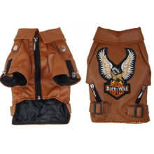 Big Small Personalized Pet Dog Clothes Leather Jacket Brown , Black Color For Winter