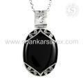 Moda simples de jóias Onyx preto Jóias Pingente de jóias de pedras preciosas de prata natural atacadista