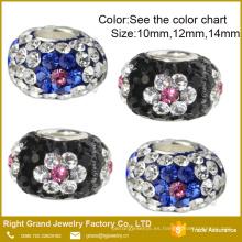 Perlas de cristal grandes del agujero flor punteada pulsera europea granos encantos de bricolaje