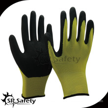 SRSAFETY Yellow liner coated nitrile gloves work glove/sandy finish gloves