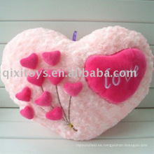 cojín de felpa y relleno con forma de corazón de San Valentín, cojín de flor suave