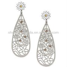 Neues Produkt für 2013 Art- und WeiseEdelstahl-gelbe Kristalldoppelte Teardrop-Ohrringe für Frauen