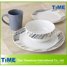 Porcelain Decal Dinner Set with Color Glazed Mug