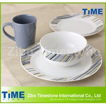 Porcelain Decal Dinner Set with Color Glazed Mug