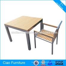 Conjunto de sala de jantar de alumínio de mesa de madeira de lazer
