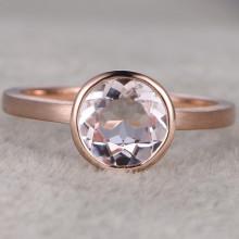7mm Round Cut Morganite Engagement Ring 14k Rose gold Solitaire Ring Brush Sand Design Bezel Set