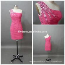 Bainha de cristal um ombro acima do joelho rosa personalizado mini coquetel CD074 vestido de chiffon plissado