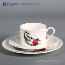 Animal Pattern White Luxury Bulk Ceramic Plate And Cup Set, Ceramic Dinnerware Cartoon Design
