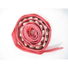 DESIGNER Pink Tan Beaded Silk Skinny Tie Belt silk flower belt