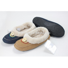 Memory foam slippers womens shoes home loafer shoes with wooden beads