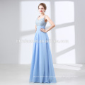 Factory supply new fashion high beaded high neck back see through chiffon evening dress 2016 long with factory price