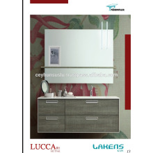 Turkey Manufacture Cheap Price Bathroom Vanity with Melamine Coated Mdf Door and Recessed Handle Design