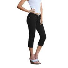 Женщины прекрасно формируя эластичные джинсовые Капри