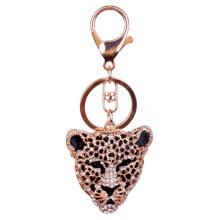 Strass completo, liga metálica de cristal leopardo mão de cadeia chave saco charme Gold Plated esmalte preto chaveiro por atacado, niquelar livre