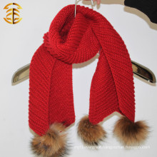 2015 New Year Products Raccoon Fur Pom Pom Children Knit Scarf Knitted Wool Scarf