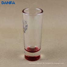2 Unzen. Shooter-Glas mit rotem Boden (mehrfache Farboptionen)