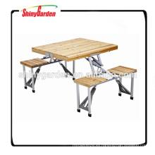 Mesa plegable portátil de madera que acampa