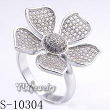 925 de plata esterlina Zirconia mujeres flor anillo (s-10304)