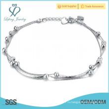 Платиновый серебряный браслет с бисером для девочек, браслеты с цепочкой для рабынок