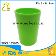 "Cheap without handles melamine 3"" green round shape plastic tumbler mug"