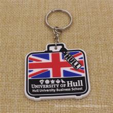 Versorgungsmaterial-Art und Weise preiswerter weicher PVC Keychain für Großbritannien-Universität