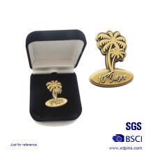 Benutzerdefinierte Metall Antik Gold Abzeichen mit Geschenkbox