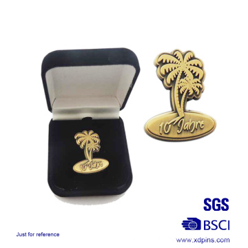Custom Metal Antique Gold Badge with Gift Box
