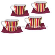 Цветные полоски кофейная чашка и блюдце для BS120801B