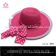 Fuschia Pink Paper Señora Hat Con Hermosa cinta de verano sombrero de playa sombrero