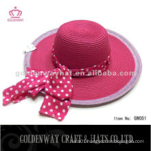 Fuschia Pink Paper Lady Hat With Beautiful Ribbon summer beach hat paper