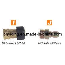 """Hochdruckreiniger Messingkupplung (M22 schwenkbar + 3/8 """"QD)"""