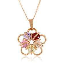 Moda jóias pingente de flor em rosa cor de ouro
