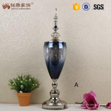 Jarrones de cristal de la casa de centro de la boda floreros decorativos de la casa con la tapa y la base inferior