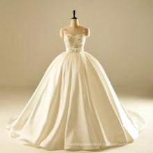 AH1905 pérola contas bola vestidos moderno vestido de casamento ocidental duques vestidos de cetim vestidos de noiva vestido de noiva