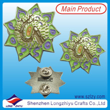 Zinc Alloy Painted Flower Badge with Laser Number Back (LZY-10000148)