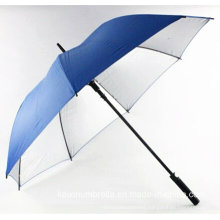 30 Inches Auto Open Straight Golf Umbrella with Silver Coating Pongee Fabric