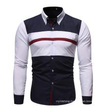 Men Dress Stitching Color Long Sleeve Slim Fit Business Shirt