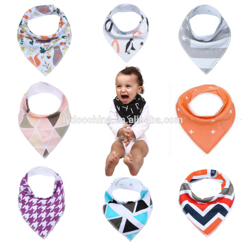 fancy cotton with adjustable snaps china manufacturer unisex baby bandana drool bibs