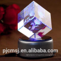 Valentine's day gift 3D laser engrave crystal rose rotaing music box