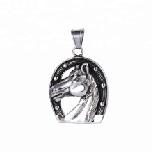 33509 xuping 2018 hot sale black gun color Stainless Steel jewelry horse head pendant